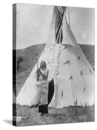 Slow Bull Dakota Soiux Indian outside Tepee Curtis Photograph-Lantern Press-Stretched Canvas Print