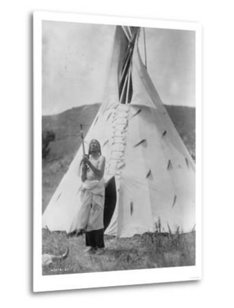 Slow Bull Dakota Soiux Indian outside Tepee Curtis Photograph-Lantern Press-Metal Print