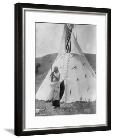 Slow Bull Dakota Soiux Indian outside Tepee Curtis Photograph-Lantern Press-Framed Art Print