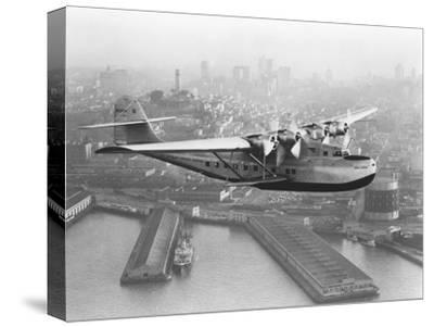 Pan American China Clipper and San Francisco Skyline Photograph No.1 - San Francisco, CA-Lantern Press-Stretched Canvas Print