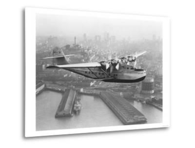 Pan American China Clipper and San Francisco Skyline Photograph No.1 - San Francisco, CA-Lantern Press-Metal Print