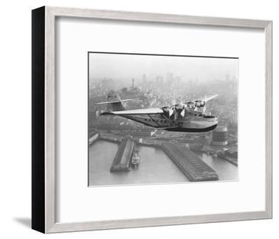 Pan American China Clipper and San Francisco Skyline Photograph No.1 - San Francisco, CA-Lantern Press-Framed Art Print