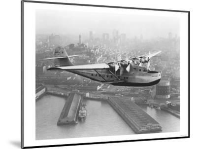Pan American China Clipper and San Francisco Skyline Photograph No.1 - San Francisco, CA-Lantern Press-Mounted Art Print