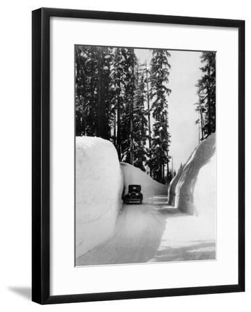 Mt. Hood Loop Road Snow Canyon Photograph - Mt. Hood, OR-Lantern Press-Framed Art Print