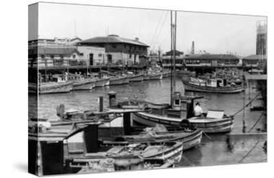 San Francisco, CA Fisherman's Wharf Scene Photograph - San Francisco, CA-Lantern Press-Stretched Canvas Print