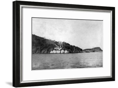 San Francisco, CA Yerba Buena Island and Lighthouse Photograph - San Francisco, CA-Lantern Press-Framed Art Print