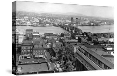 Portland, OR View of City and Hawthorne Bridge Photograph - Portland, OR-Lantern Press-Stretched Canvas Print