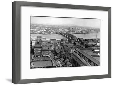 Portland, OR View of City and Hawthorne Bridge Photograph - Portland, OR-Lantern Press-Framed Art Print