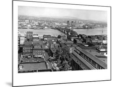 Portland, OR View of City and Hawthorne Bridge Photograph - Portland, OR-Lantern Press-Mounted Art Print