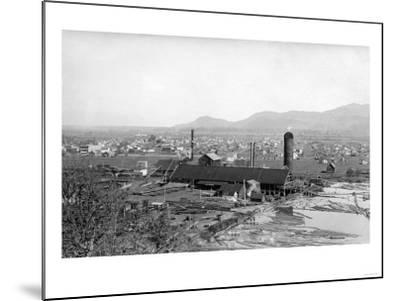 Springfield, OR Town View and Lumber Mills Photograph - Springfield, OR-Lantern Press-Mounted Art Print