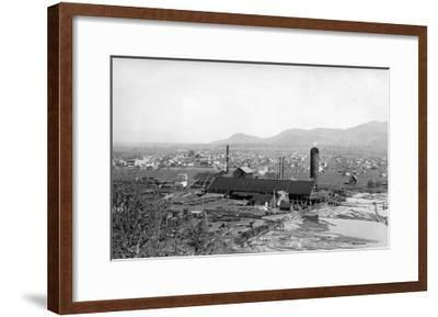 Springfield, OR Town View and Lumber Mills Photograph - Springfield, OR-Lantern Press-Framed Art Print