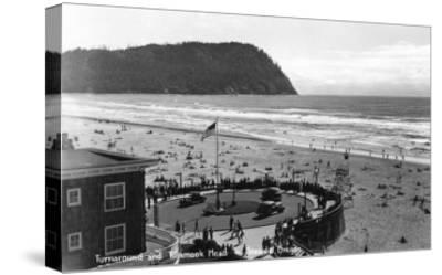 Seaside, Oregon Beach Scene from Air Photograph - Seaside, OR-Lantern Press-Stretched Canvas Print