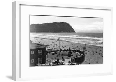 Seaside, Oregon Beach Scene from Air Photograph - Seaside, OR-Lantern Press-Framed Art Print