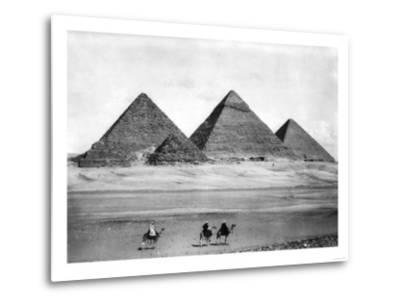 Pyramids and Three Riders on Camels Photograph - Egypt-Lantern Press-Metal Print
