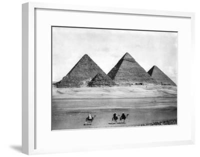 Pyramids and Three Riders on Camels Photograph - Egypt-Lantern Press-Framed Art Print