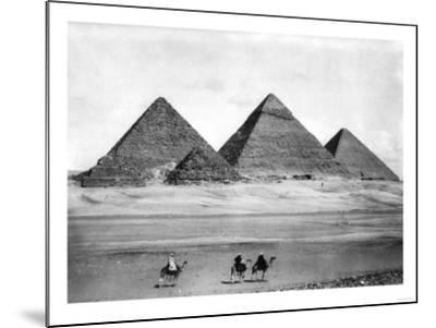 Pyramids and Three Riders on Camels Photograph - Egypt-Lantern Press-Mounted Art Print