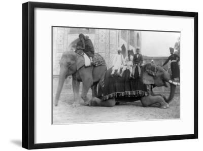 Men Riding Elephants in India Photograph - India-Lantern Press-Framed Art Print