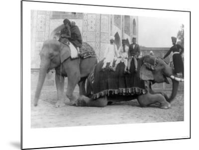 Men Riding Elephants in India Photograph - India-Lantern Press-Mounted Art Print
