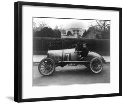 Racecar Parked in Front of the White House Photograph - Washington, DC-Lantern Press-Framed Art Print