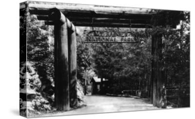 Mt. Rainier National Park Entrance Photograph - Mount Rainier, WA-Lantern Press-Stretched Canvas Print