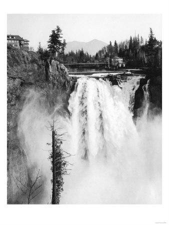 Snoqualmie Falls and Lodge, Washington Photograph - Snoqualmie Falls, WA-Lantern Press-Framed Art Print