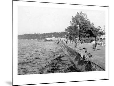 Seattle, WA View of Alki Beach and Boardwalk Photograph - Seattle, WA-Lantern Press-Mounted Art Print