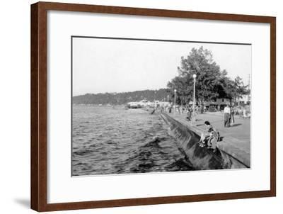 Seattle, WA View of Alki Beach and Boardwalk Photograph - Seattle, WA-Lantern Press-Framed Art Print