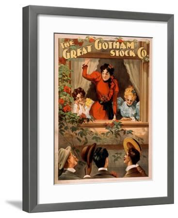 The Great Gotham Stock Co. Theatre Poster-Lantern Press-Framed Art Print