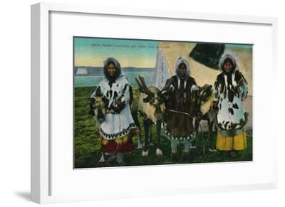 Three Eskimo Beauties and Sled Reindeer - Alaska State-Lantern Press-Framed Art Print