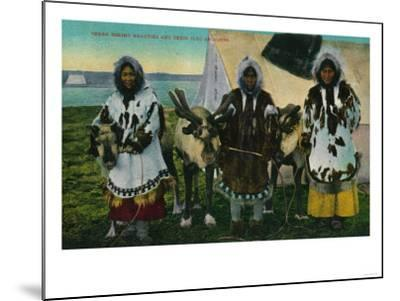 Three Eskimo Beauties and Sled Reindeer - Alaska State-Lantern Press-Mounted Art Print