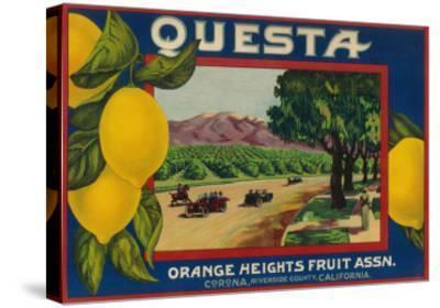 Questa Lemon Label - Corona, CA-Lantern Press-Stretched Canvas Print