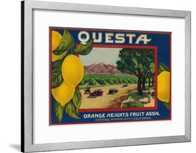 Questa Lemon Label - Corona, CA-Lantern Press-Framed Art Print