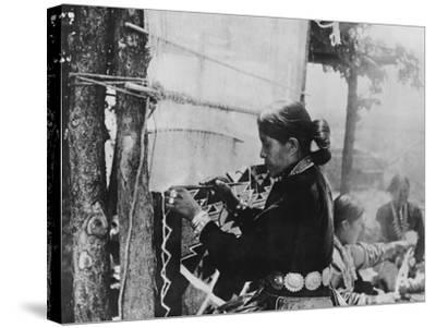 Navajo Woman Weaving a Blanket Photograph-Lantern Press-Stretched Canvas Print