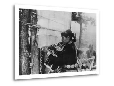 Navajo Woman Weaving a Blanket Photograph-Lantern Press-Metal Print