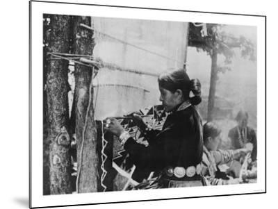 Navajo Woman Weaving a Blanket Photograph-Lantern Press-Mounted Art Print