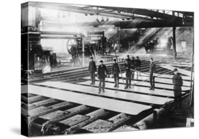 Men Laying out Plates in Steel Mill Photograph-Lantern Press-Stretched Canvas Print