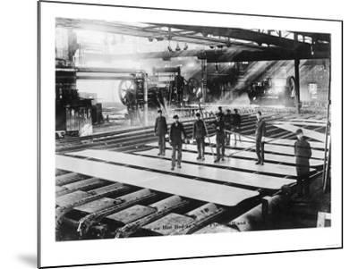 Men Laying out Plates in Steel Mill Photograph-Lantern Press-Mounted Art Print