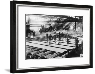Men Laying out Plates in Steel Mill Photograph-Lantern Press-Framed Art Print