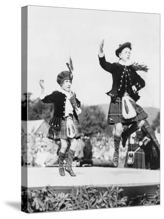 Two Scottish Children in Kilts Dancing Photograph - Scotland-Lantern Press-Stretched Canvas Print