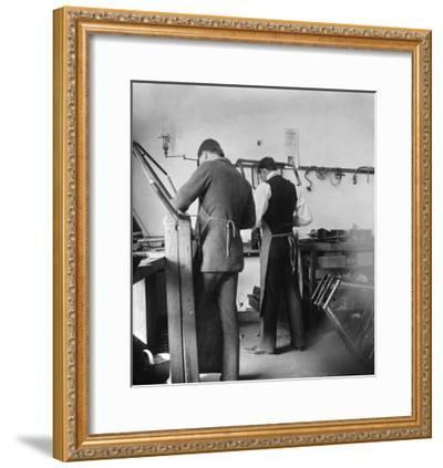 Orville and Friend at Wright Bicycle Shop Photograph - Dayton, OH-Lantern Press-Framed Art Print