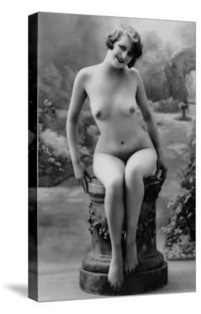 Nude Woman French Art Nouveau Photograph No.4 - France-Lantern Press-Stretched Canvas Print