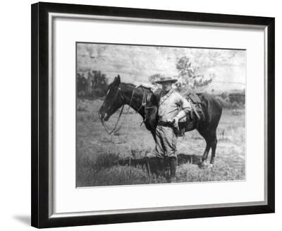 Theodore Roosevelt Dressed as Cowboy next to Horse Photograph - NA-Lantern Press-Framed Art Print