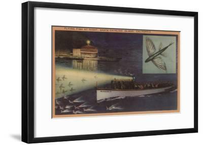 Santa Catalina Island, CA Casino, Flying Fish, Boats View - Santa Catalina, CA-Lantern Press-Framed Art Print