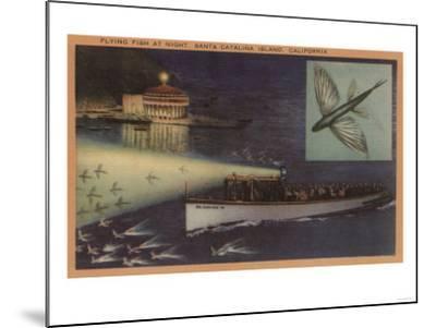 Santa Catalina Island, CA Casino, Flying Fish, Boats View - Santa Catalina, CA-Lantern Press-Mounted Art Print