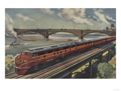 St. Louis, Missouri, Gulf Mobile & Ohio Train by River - St. Louis, MO-Lantern Press-Framed Art Print
