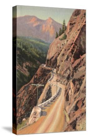 Uncompahgre Gorge and Million Dollard Highway, Colorado - Million Dollar Highway, CO-Lantern Press-Stretched Canvas Print