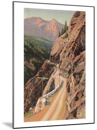 Uncompahgre Gorge and Million Dollard Highway, Colorado - Million Dollar Highway, CO-Lantern Press-Mounted Art Print