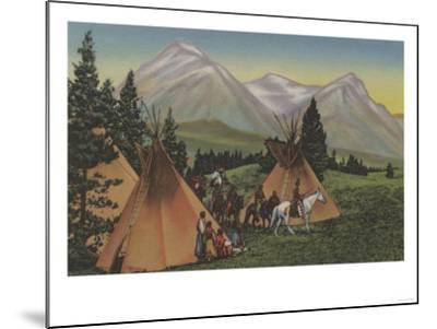 Northwest Indians Returning from Hunting - Northwest USA-Lantern Press-Mounted Art Print