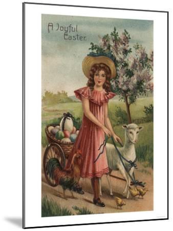 A Joyful Easter - Girl Walking Lamb, Chick, and Rooster-Lantern Press-Mounted Art Print