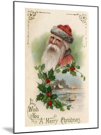 Wish You a Merry Christmas - Santa with a Lake Scene-Lantern Press-Mounted Art Print